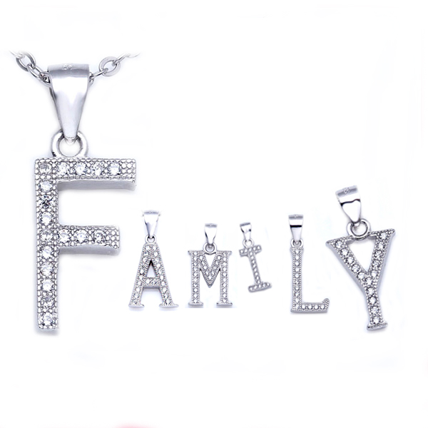Fashion 925 Sterling Silver Cubic Zirconia Initial Alphabet Pendant Necklace