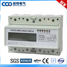 Promotional DIN Rail 3 Phase 4 Wire Energy Meter Connection
