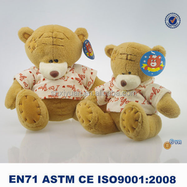 High quality plush stuffed toy teddy bear with printing T-shirt for kids gift
