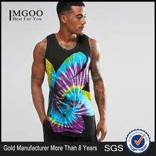 MGOO Design Bodybuilding And Fitness Men's GYM Tank Top Sports Clothes With Tie Dye Flower Print Male Gym Singlet