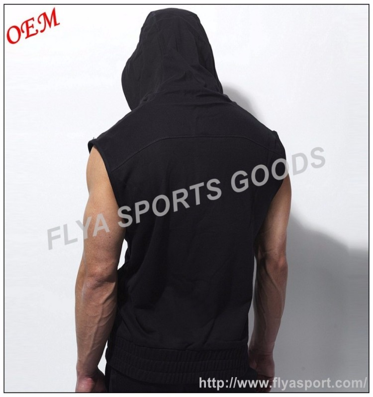 100% Cotton mens blank sleeveless pullover hoodies wholesale