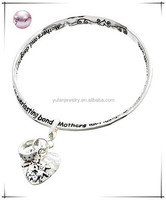 "Antique Silver Tone / Lead&nickel Compliant / Heart Charm Message Bracelet / "" Mothers And Daughters Share An Everlasting Bond """