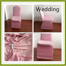 factory price spandex pink ruffled chair cover for wedding