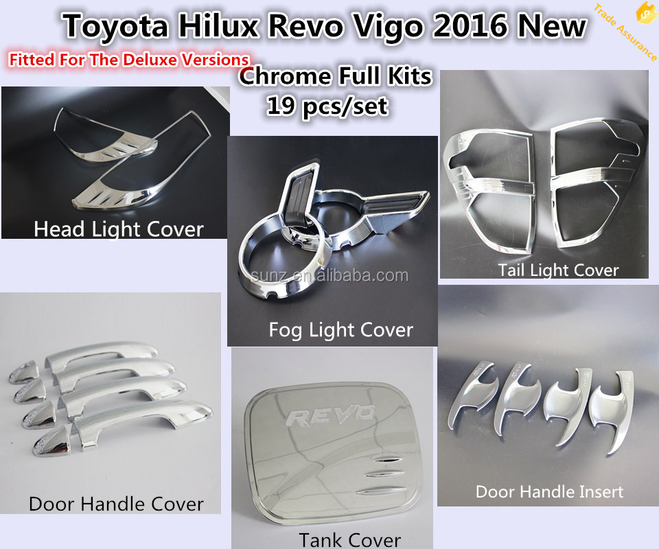 Complete Full Set Of Exterior Chrome Accessories with 3M Tape Fits Toyota Hilux Revo 2016 Vigo The Deluxe Version Chrome Kits
