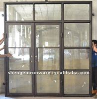 French Style Modern Double Iron Doors With Transom Sidelight