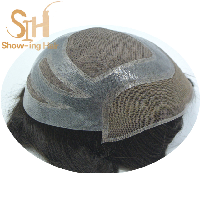 Durable indian human remy hair piece stock toupee for men