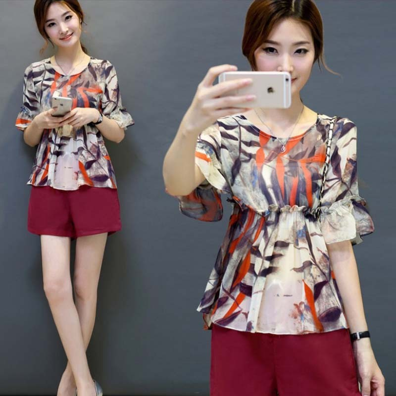 WA5115 2015 summer fashion chiffon pants suit print lady summer blouse suit