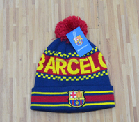 custome cheap acrylic yarn snow hat winter hat football team knitted sport hat beanie