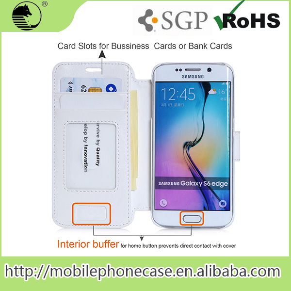 Hot Selling Import China Products Custom Flip And Stand Case For Samsung S6 Edge Wallet Phone Case