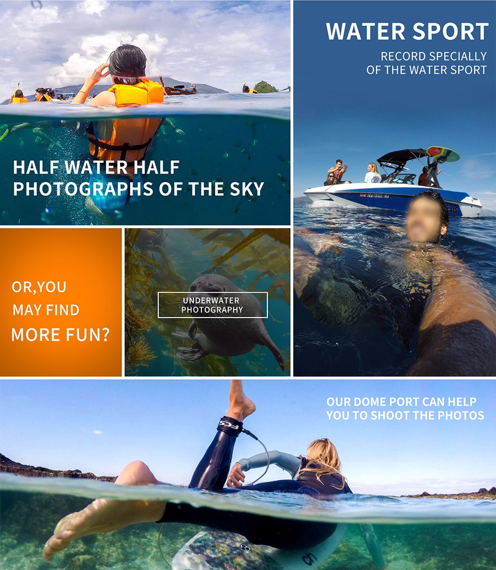 6 inch SHOOT Dome GoPro with Sun Hood Waterproof Case for GoPro Hero 4 Black Silver XTGP320