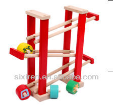 funny child wooden toys/Rolling car tower
