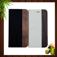 2017 China supplier hot selling new products wood flip cover leather mobile phone case for iPhone 7 7Plus