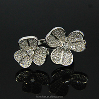 LIXIN 925 sterling silver fashion jewelry flower shape adjustable ladies ring (SLL09-52ZZ)