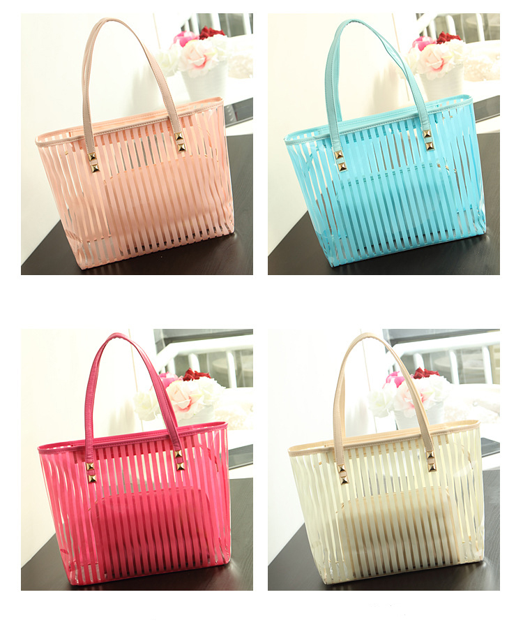 Universal outdoor candy color stripe hand shoulderbag PVC girls ladies waterproof beach bag