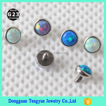 G23 Titanium 16G Threaded Opal Piercing Micro Dermal Labret Tongue RingTops body jewelry