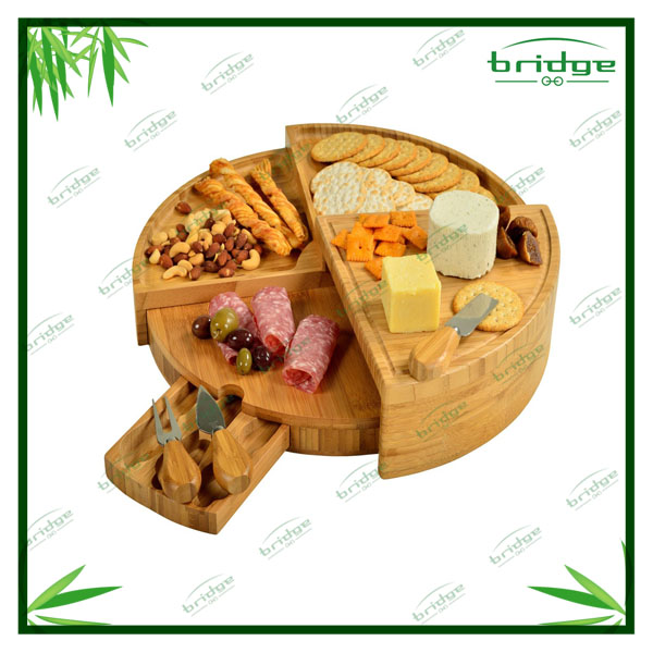 4 tiers Revolve bamboo cheese cutting board with knives set and tray