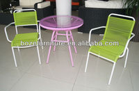 White Powder Coating Metal Patio Chairs and Tables