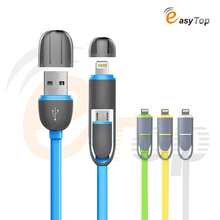 2 in 1usb cable Micro usb +8pin 2 in 1 Sync Data charger usb cable for iphone 5s 6s plus for samsung lenovo xiaomi usb cable