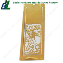 Custom Engraved Gold Plating Metal Bookmark for wholesale