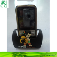 Soft PVC Customized Cell Phone Holder For Desk/ PVC Mobile phone holder metal stand