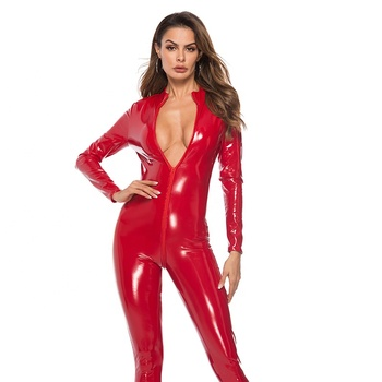 Sexy Women's Catsuit Faux Black Leather Bodysuit Halloween Costume Sexy PVC Leather Catsuit
