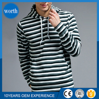 casual striped pullover mens hooded sweatshirt