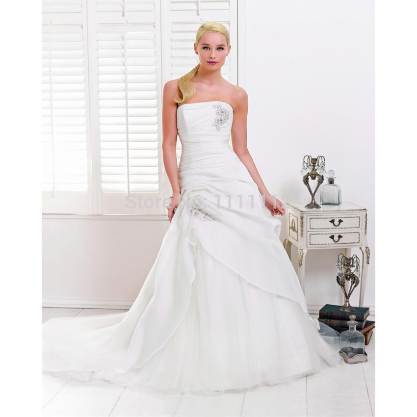 Nitree Simple Beauty A-Line Strapless Lace Brush Train Organza Wedding Dresses Bridal Gown