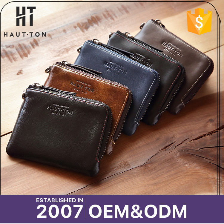 HAUTTON Fashional Man Leisure Genuine Top Cow Leather Wallets Top Selling Professional Waterproof Zipper Small Wallet For Men