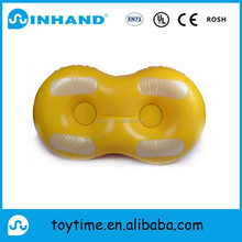 ASTM/EN71 towable double yellow pvc plastics inflatable heavy duty snow tube/ inflatable water ski snow sled