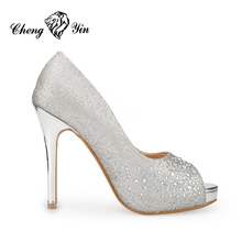 Silver Hot Sex Wholesale High Heels Ivory Wedding Shoes