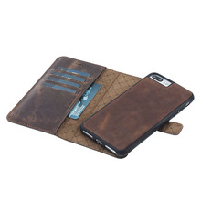 Leather Phone Case Cover Magic Wallet Antic Brown for iPhone 7 Plus