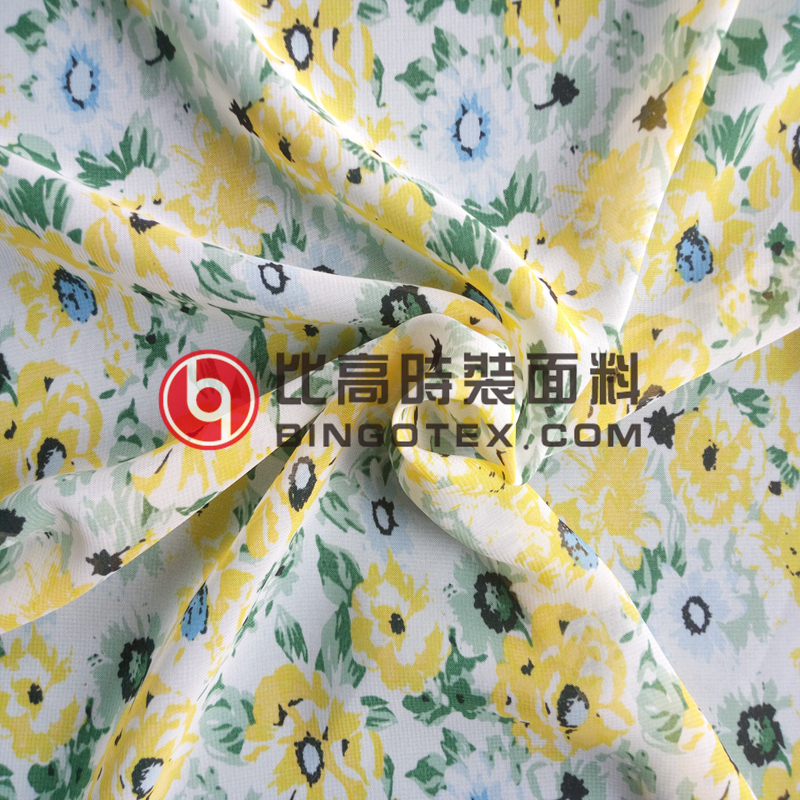 Polyester Flolar Digital Print Chiffon Silk fabric China supply for Dress