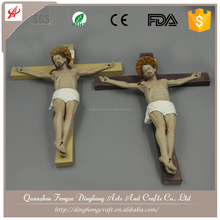 Wholesale Resin Angel and Cross Religious Crafts Resin+Stone Powder Bronze Statue