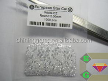 2.0mm shining white clear cubic zirconia cz lab created diamonds loose gems
