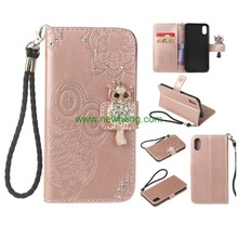 Cute Cartoon Embossed Owl Stand Wallet Flip Pu Leather Diamond buckle Case For iPhone X