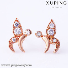 New design fashion rose gold pink crystal earring