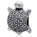 White CZ Zircon Micro Pave Sea Turtle Authentic 925 Sterling Silver European Charm Beads For DIY European Jewellery SZPB265