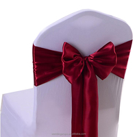 Fancy pandex elastic band in burgundy flower chair sashes