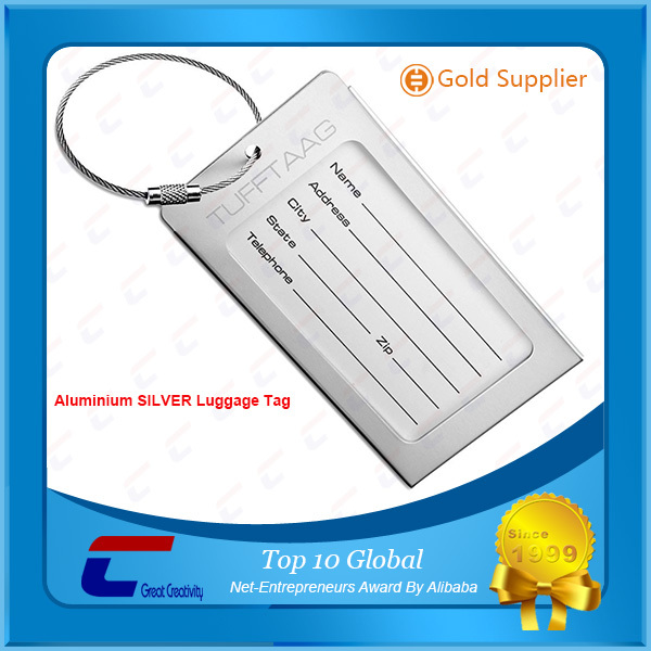 Wholesale custom metal eyelets luggage tag|cheap secure aluminium engravable luggage tag with metal ring