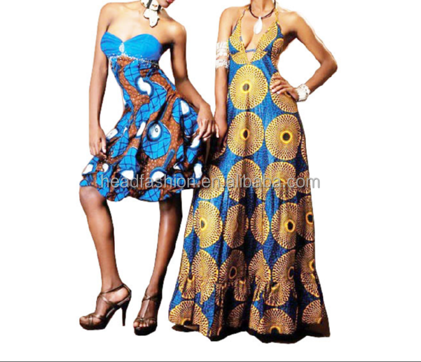 2016 beautiful ladies African wax dress frock 100% cotton high quality printing wax prom dress