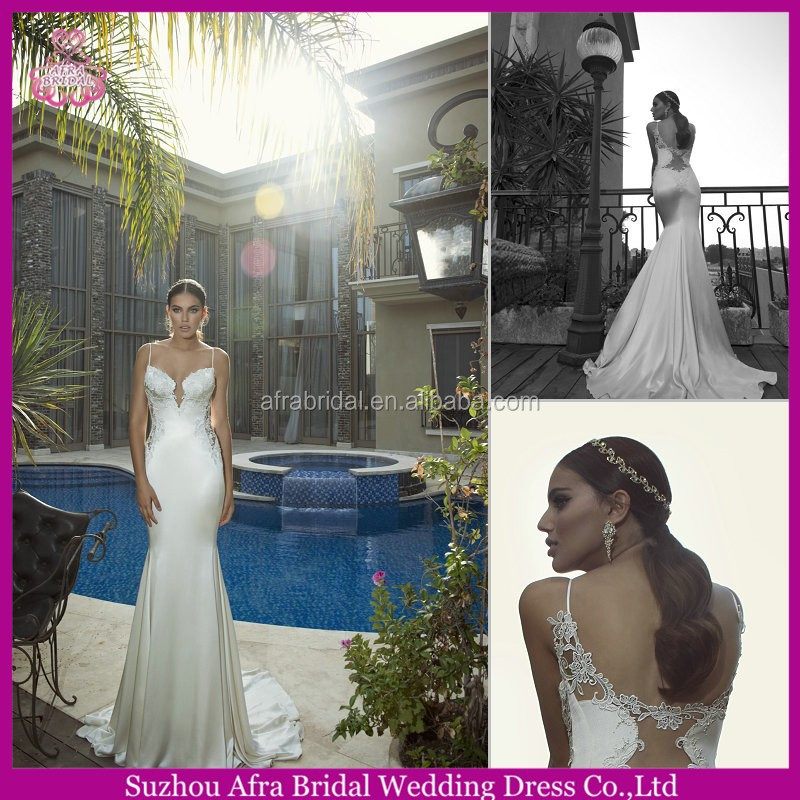 QQ3007 satin open back sexy fishtail wedding dress mermaid bridal dress saudi arabian wedding dress
