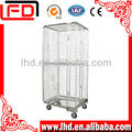 Folding Nestable Metal Roll Container Trolley with four wheels