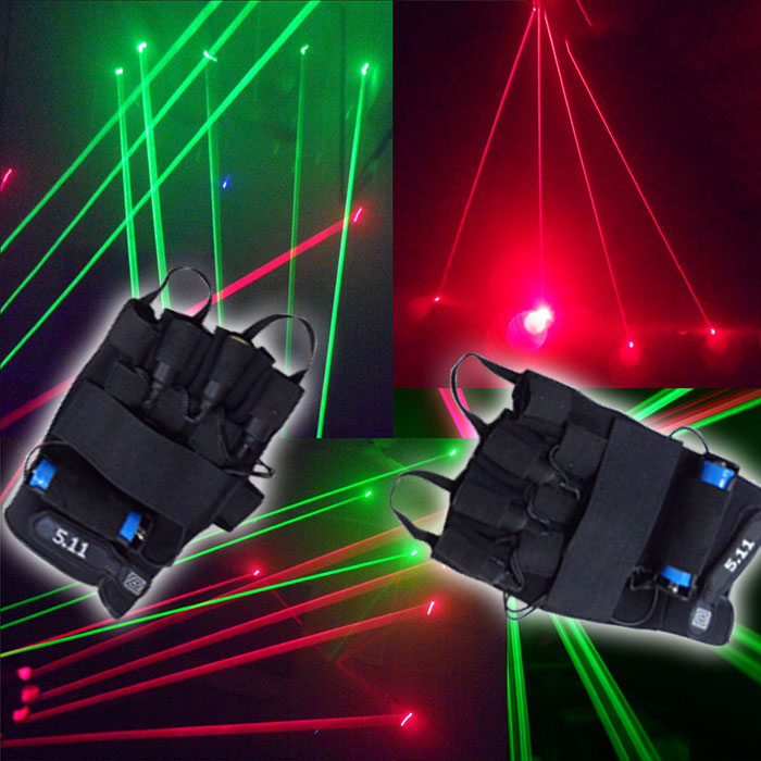 532nm Green Laser gloves with 3 4 5 6pcs 100mW green laser beams, switch and DC line charge