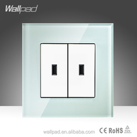 Hot Sale China New Products Wallpad Luxury White Crystal Glass Double USB 5V 1000MA Socket Wall Light Electric Switch Socket