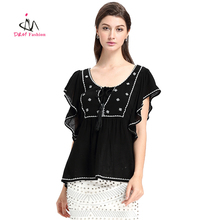 Womens Semi Formal Tops and Blouses Casual Loose Patchwork Blouse Designs