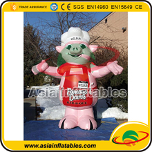 4M Giant Inflatable Pig Character/ Inflatable Pink Food Pig for Outdoor Advertising