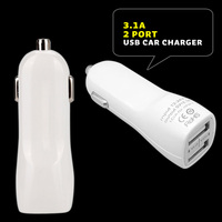 Dual USB Car Charger 3.1Amp 15.5W - 1.0&2.1A Universal Ports, Smart Power Supply For iPods, iPhones, Cell Phones & Tablet, Andro