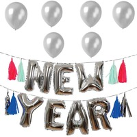 Happy new year party supplies sliver new year decoration balloons kit