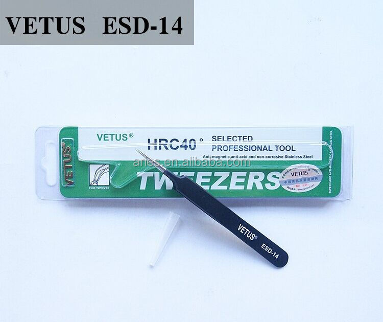 VETUS ESD-14 Precision Steel Tweezers - Lashes, Eyebrow, Make-Up (eyelash extensions)