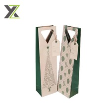Embossed green printed kraft wine gift paper bag